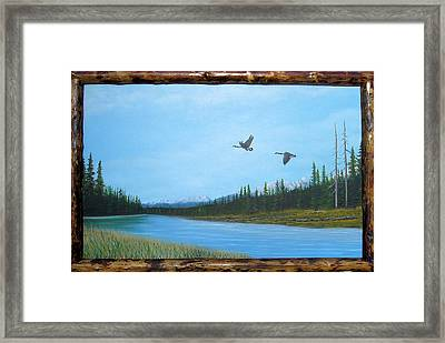 Canadian Geese On The Kootenay Framed Print by William Flexhaugh
