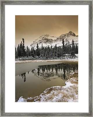 Canadian Rocky Mountains Dusted In Snow Framed Print by Tim Fitzharris