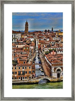 Canal And Bridges In Venice Italy Framed Print by David Smith