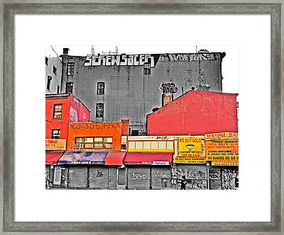 Canal And Bway Framed Print by Bennie Reynolds