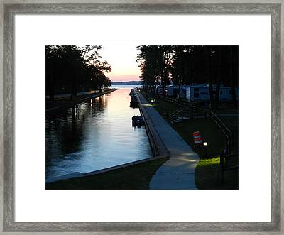 Canal At Sunrise Framed Print by Dennis Leatherman