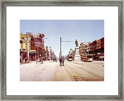 Canal Street In New Orleans, Chotochrom Framed Print by Everett