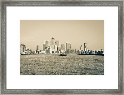Framed Print featuring the photograph Canary Wharf Cityscape by Lenny Carter