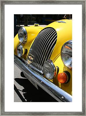 Canary Yellow Morgan Sportscar Framed Print by Alan Rutherford