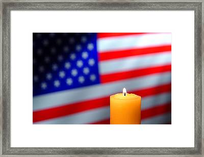 Candle And American Flag Framed Print by Olivier Le Queinec