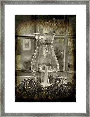 Candle And Window Framed Print by Steven Ainsworth