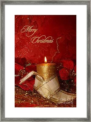 Candle Light Christmas Card Framed Print