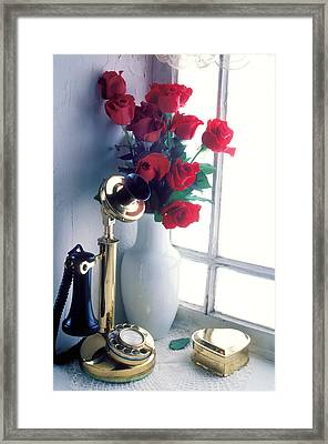 Candlestick Phone In Window Framed Print by Garry Gay