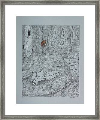 Canine Skull And Butterfly Framed Print by Daniel Reed