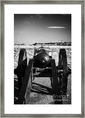 Cannon On Church Bastion Facing Out On The 17th Century Walls Of Derry City Framed Print by Joe Fox