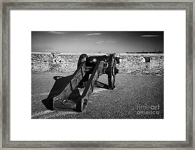 Cannon On Church Bastion Facing Out On The 17th Century Walls Of Derry Framed Print by Joe Fox