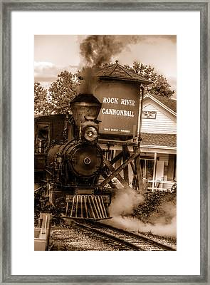 Cannonball Express In Sepia Framed Print by Janice Adomeit