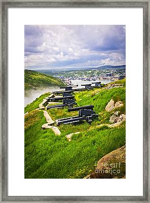 Cannons On Signal Hill Near St. John's Framed Print by Elena Elisseeva
