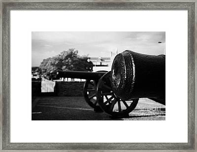 Cannons On The Mall Wall And Double Bastion Section Of Derrys City Walls Framed Print by Joe Fox