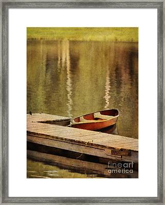 Canoe At Dock Framed Print by Jill Battaglia