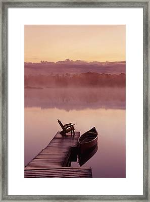 Canoe Dock, Pinawa, Manitoba Framed Print by Dave Reede