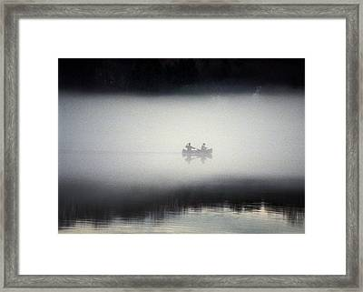 Canoe In Fog Framed Print by Kurt Weiss