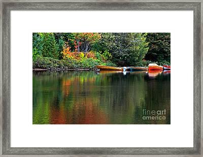 Canoe Lake Framed Print by Charline Xia