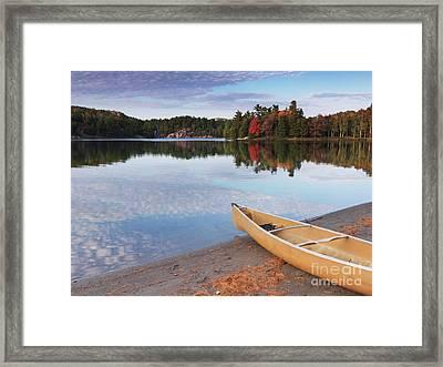 Canoe On A Shore Autumn Nature Scenery Framed Print by Oleksiy Maksymenko