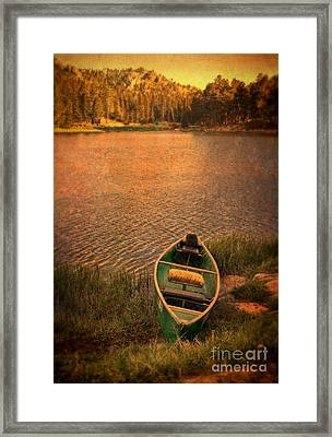 Canoe On Lake Framed Print by Jill Battaglia
