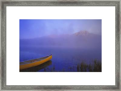 Canoe On Patricia Lake, Jasper National Framed Print by Carson Ganci