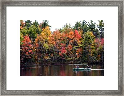 Canoeing In Autumn Framed Print