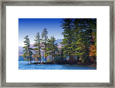 Canoeing In The Fall Framed Print