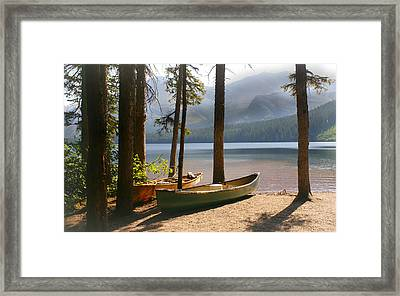 Canoes At The Ready Framed Print by Marty Koch
