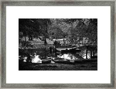 Canoes For Rent Framed Print by Snow  White