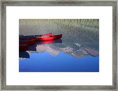 Canoes In The Rockies Framed Print by Steve Parr