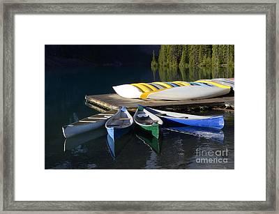 Canoes Morraine Lake 2 Framed Print by Bob Christopher