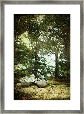 Canoes On The Shore Framed Print by Stephanie Frey