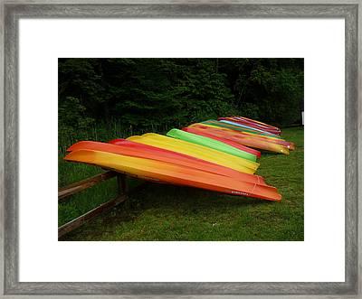 Canoes  Framed Print by Pamela Turner