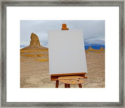 Canvas And Easel In Desert Framed Print by David Buffington