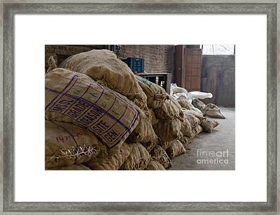 Canvas Bags Holding Foodstuffs Framed Print by Inti St. Clair