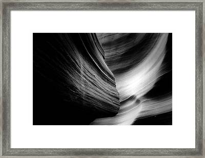 Canyon Curves In Black And White Framed Print