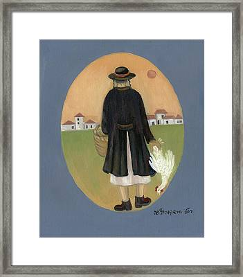 Caparot Rooster Hasid Back View Jewish Religious In Blue Yellow Black Green  Framed Print
