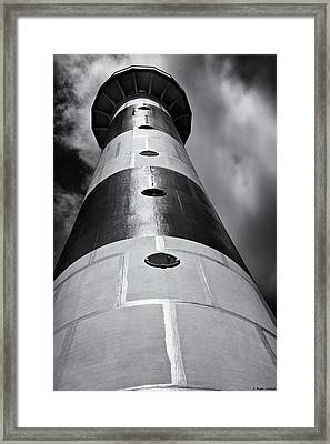 Cape Canaveral Lighthouse Black And White Framed Print by Roger Wedegis