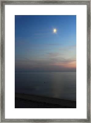 Cape Cod Bay Dusk Moon Framed Print by John Burk