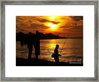Cape Cod Canal Fishing Framed Print by John Doble