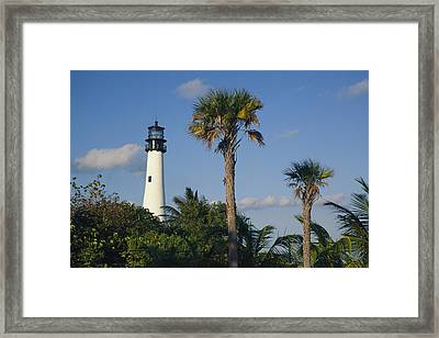 Cape Florida Lighthouse At Bill Baggs Framed Print