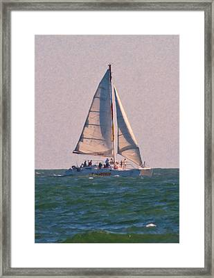Cape Lookout Sailboat Framed Print by Betsy Knapp