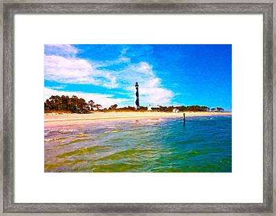 Cape Lookout Shore And Lighthouse Framed Print by Betsy Knapp