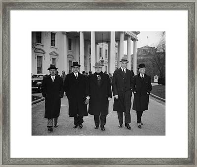 Capital And Labor Leaders Leaving Framed Print by Everett