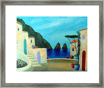 Framed Print featuring the painting Capri Villa by Larry Cirigliano