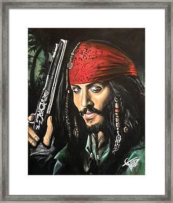 Captain Jack Sparrow Framed Print by Tom Carlton