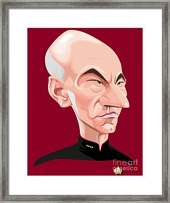 Captain Jean Luc Picard Framed Print by Kevin Greene