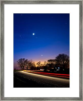 Car And Plane Under Venus Framed Print