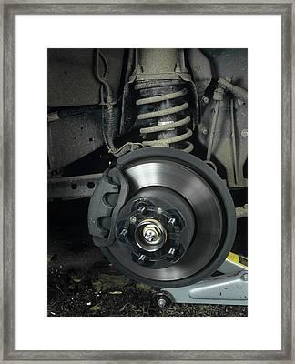 Car Disc Brake Framed Print by Andrew Lambert Photography