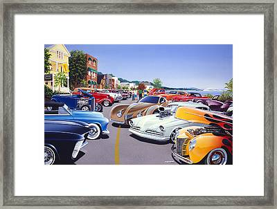 Car Show By The Lake Framed Print by Bruce Kaiser